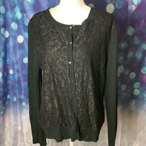 New York & Company lace front cardigan